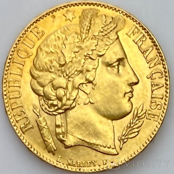 20 франков. 1851. Республика. Франция (золото 900, вес 6,45 г), фото №12
