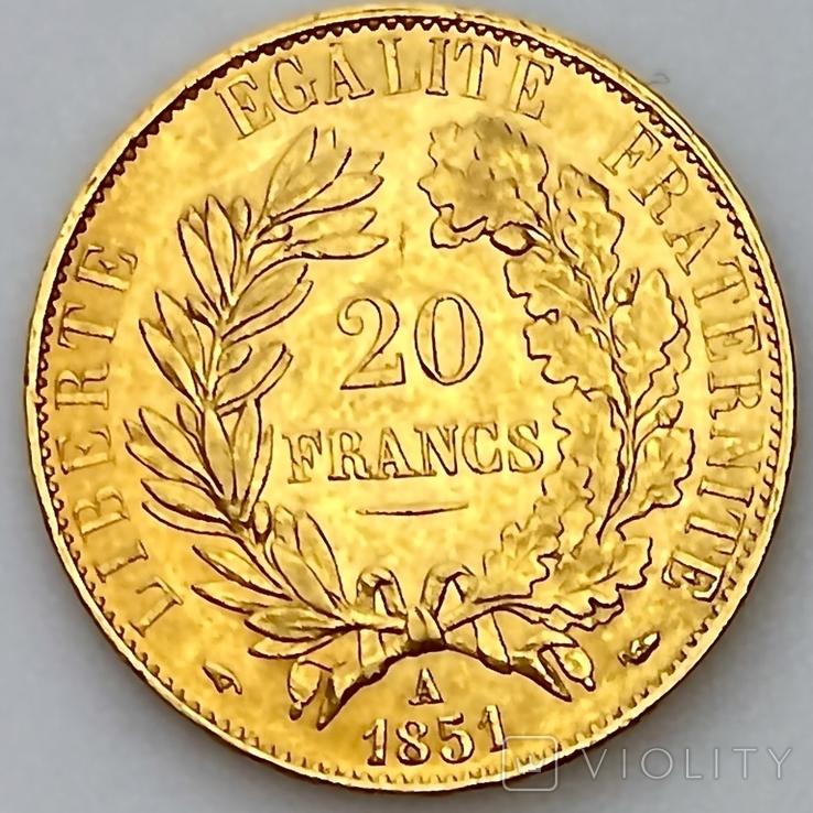 20 франков. 1851. Республика. Франция (золото 900, вес 6,45 г), фото №13