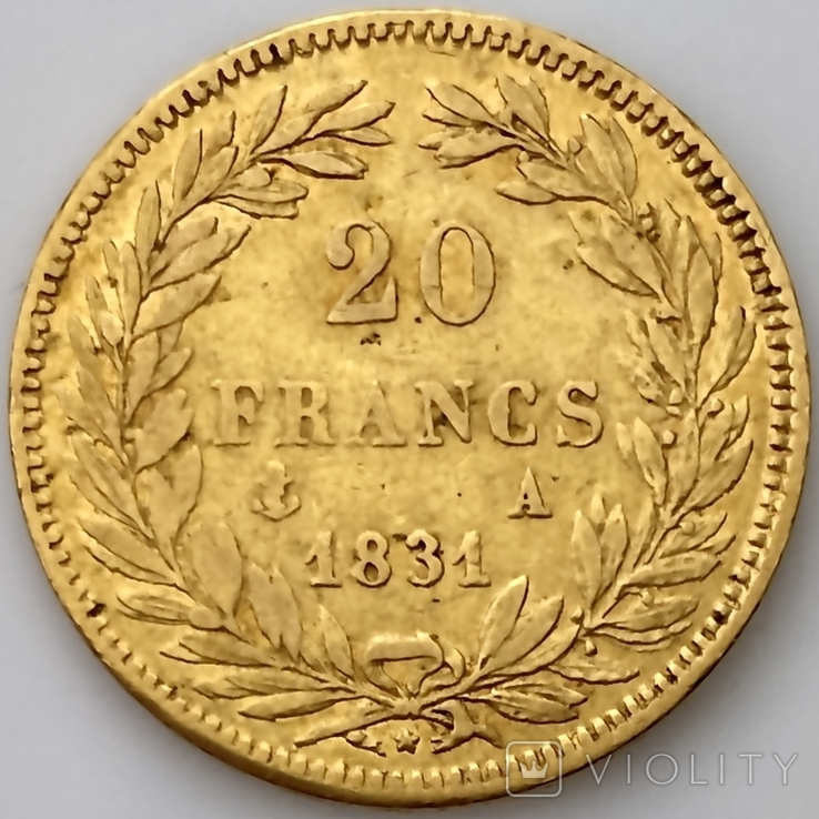 20 франков. 1831. Луи-Филипп I. Франция. (золото 900, вес 6,39 г), фото №3