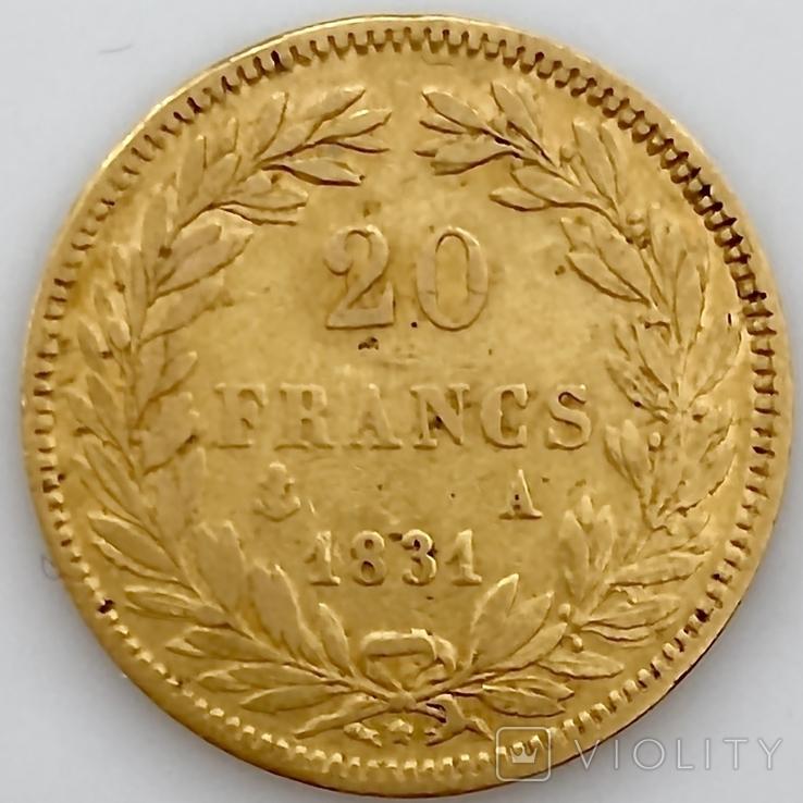 20 франков. 1831. Луи-Филипп I. Франция. (золото 900, вес 6,39 г), фото №7