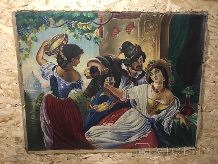 Картина маслом Октябрьский праздник в Риме. Копия, фото №2