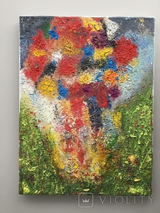 """Картина холст, масло """"Полет цветов"""" Абстракция. 40 х 30 см., фото №4"""