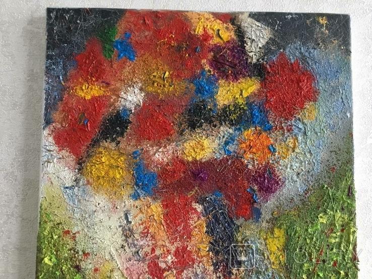 """Картина холст, масло """"Полет цветов"""" Абстракция. 40 х 30 см., фото №7"""