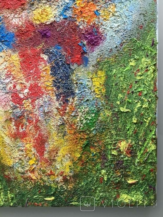 """Картина холст, масло """"Полет цветов"""" Абстракция. 40 х 30 см., фото №8"""