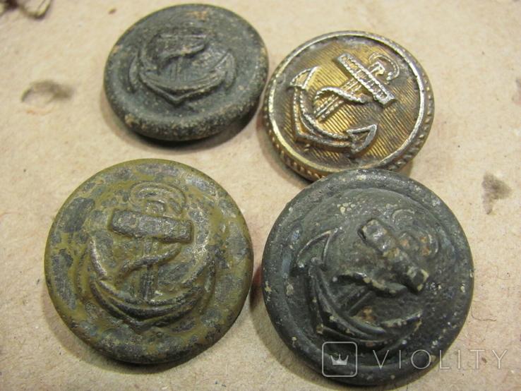 Пуговицы с якорем 4-шт., фото №2