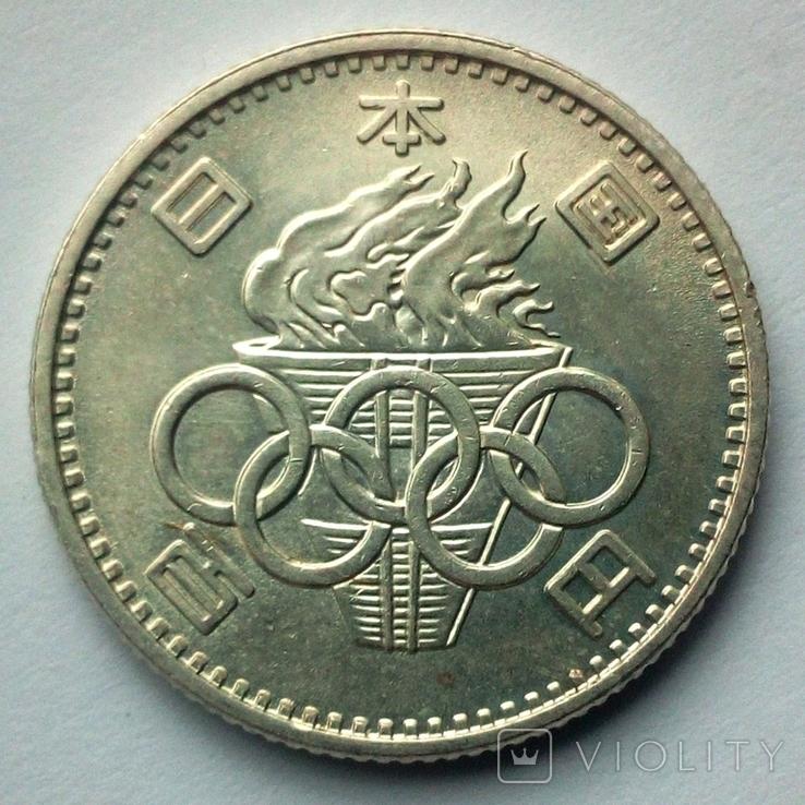 Япония 100 йен 1964 г. Олимпийские Игры Токио, фото №2