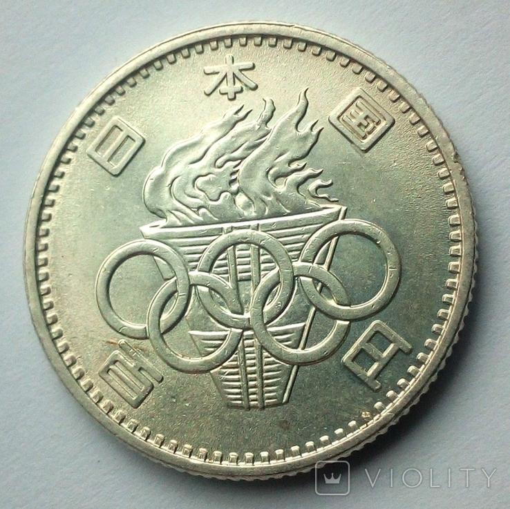 Япония 100 йен 1964 г. Олимпийские Игры Токио, фото №3