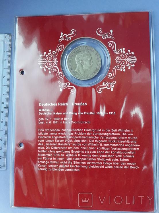5 марок, Пруссия, император Вильгель II, 1900 год, серебро 0.900, 27.77 грамм, фото №2