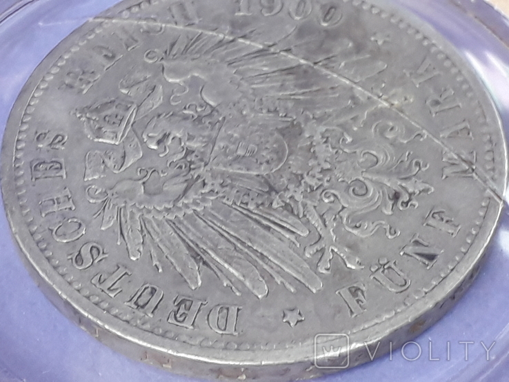 5 марок, Пруссия, император Вильгель II, 1900 год, серебро 0.900, 27.77 грамм, фото №9