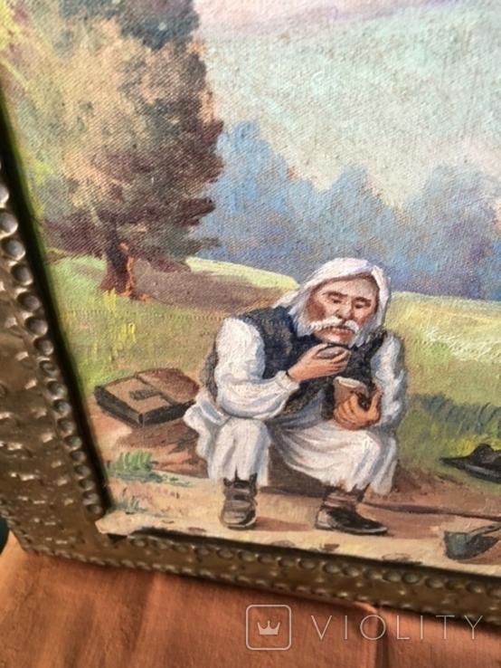 """""""Старик крестьянин. Распятие"""". Масло холст в медном окладе. Европа ХХ век, фото №3"""