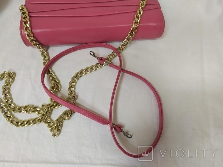 Винтажная розовая сумочка с длинной ручкой цепочкой. Можно носить как клатч. 24х17х4,5см, фото №12