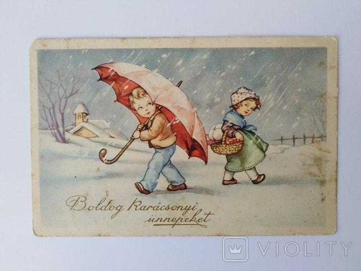 """Открытка с маркой """"Счастливого Рождества"""", фото №2"""