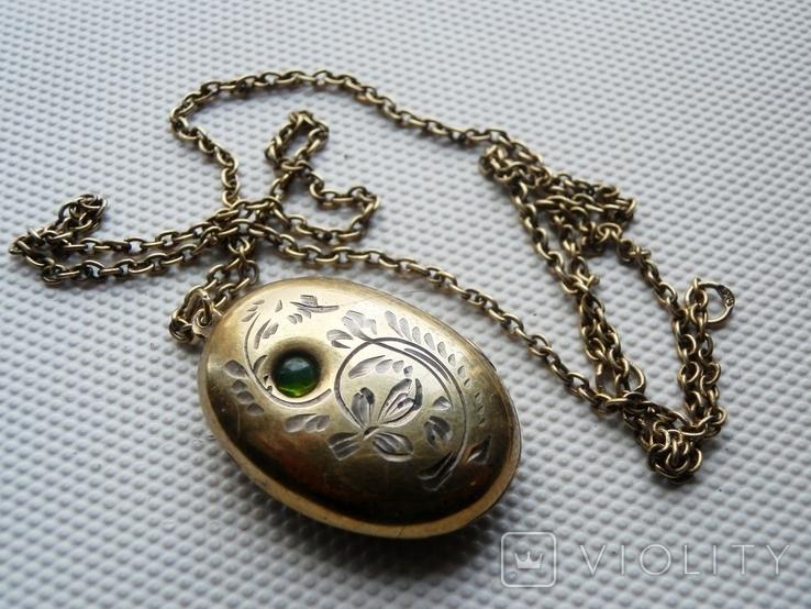 Медальон, кулон. Серебро 875 пробы, клеймо голова, фото №2