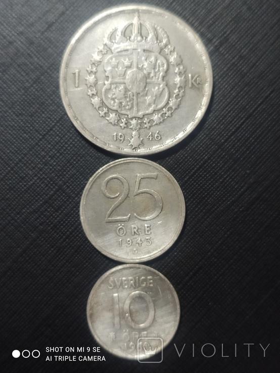 1 крона 1946, 25 эре 1943, 10 эре 1969 Серебро, фото №2