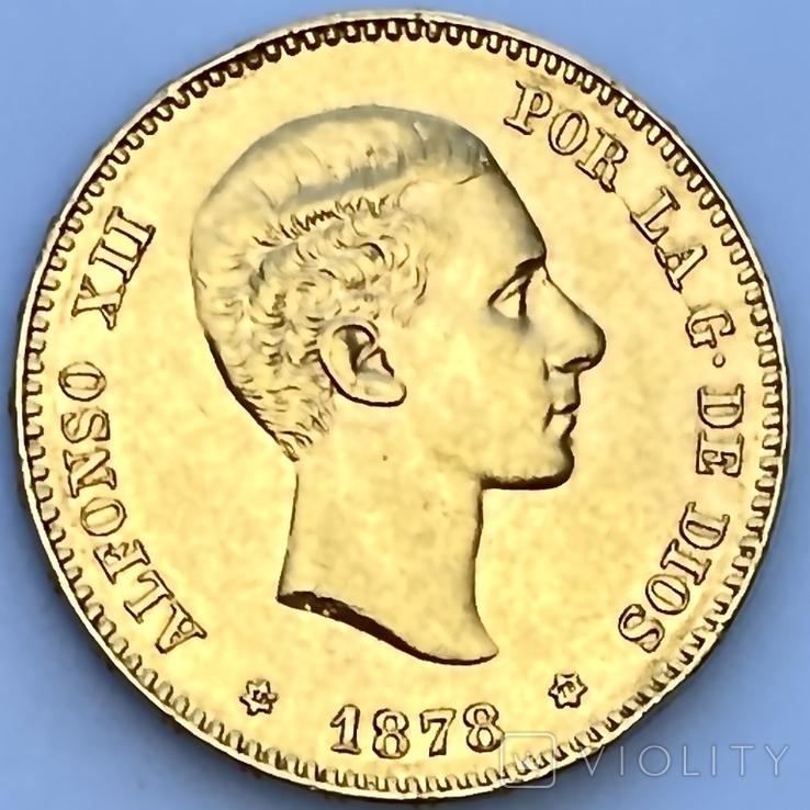 25 песет. 1878. Альфонсо XII. Испания (золото 900, вес 8,06 г), фото №2