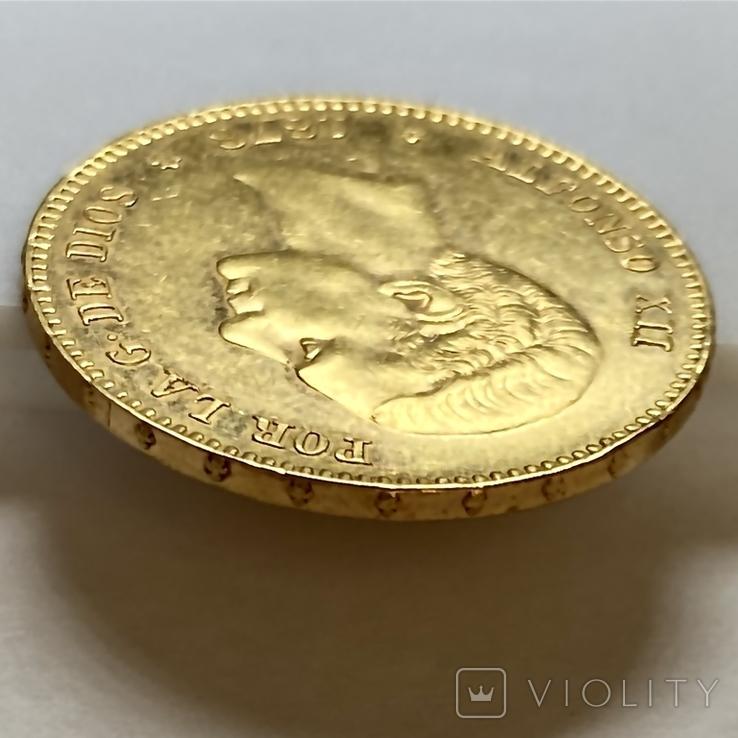 25 песет. 1878. Альфонсо XII. Испания (золото 900, вес 8,06 г), фото №5