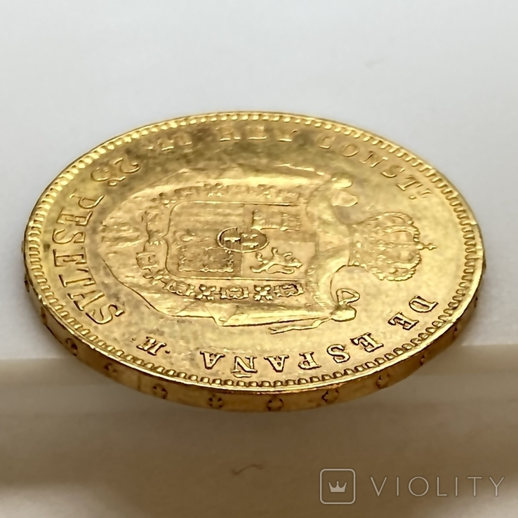 25 песет. 1878. Альфонсо XII. Испания (золото 900, вес 8,06 г), фото №6