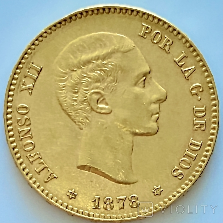25 песет. 1878. Альфонсо XII. Испания (золото 900, вес 8,06 г), фото №8