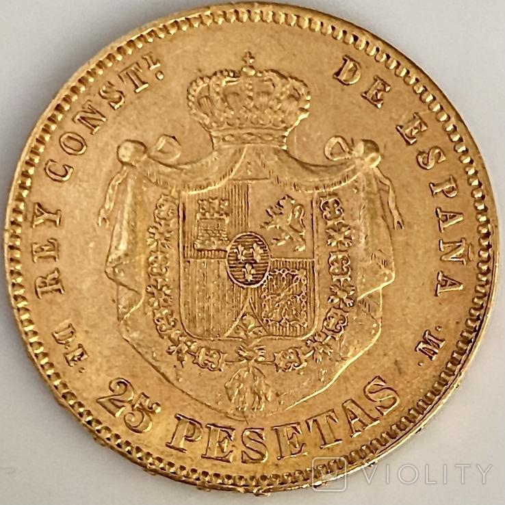 25 песет. 1878. Альфонсо XII. Испания (золото 900, вес 8,06 г), фото №12