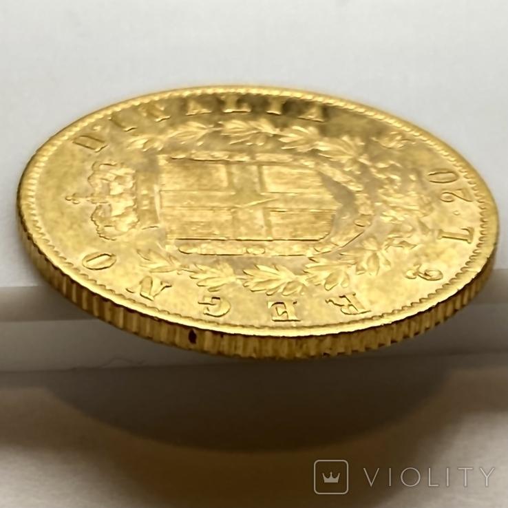 20 лир. 1863. Витторио Эмануэле II. Италия (золото 900, вес 6,43 г), фото №11