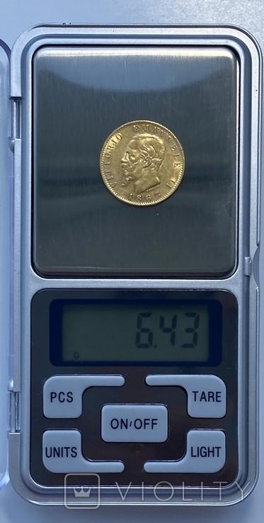20 лир. 1863. Витторио Эмануэле II. Италия (золото 900, вес 6,43 г), фото №12
