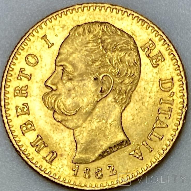 20 лир. 1882. Умберто I. Италия. (золото 900, вес 6,47 г), фото №2