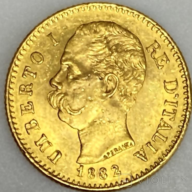 20 лир. 1882. Умберто I. Италия. (золото 900, вес 6,47 г), фото №6