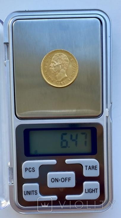 20 лир. 1882. Умберто I. Италия. (золото 900, вес 6,47 г), фото №8