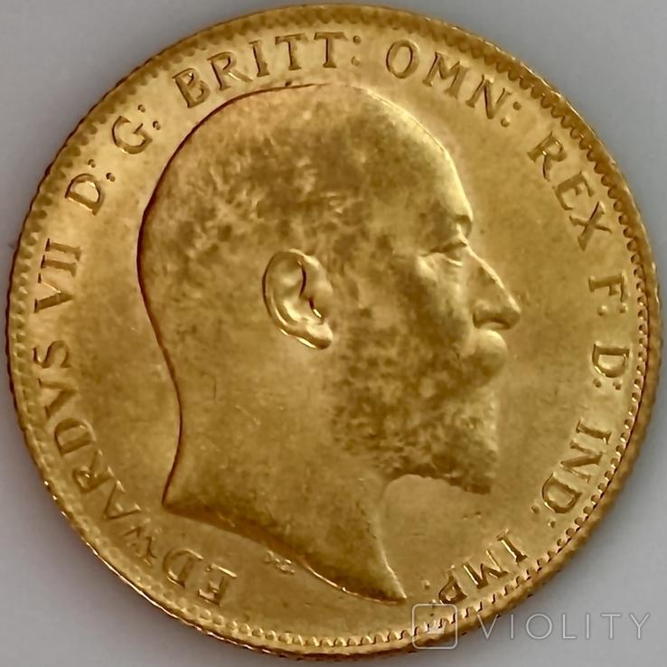 1 фунт (соверен). 1906. Эдуард VII. Великобритания (золото 917, вес 8,00 г), фото №2