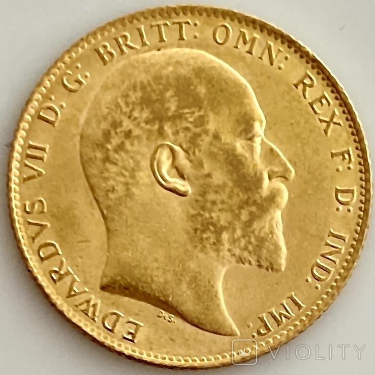 1 фунт (соверен). 1906. Эдуард VII. Великобритания (золото 917, вес 8,00 г), фото №7