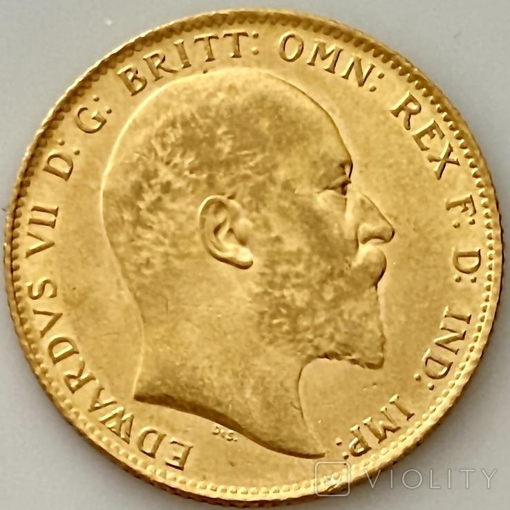 1 фунт (соверен). 1906. Эдуард VII. Великобритания (золото 917, вес 8,00 г), фото №8