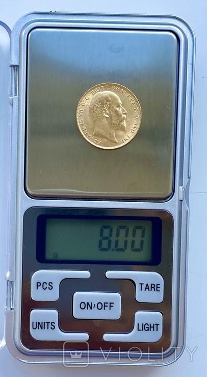1 фунт (соверен). 1906. Эдуард VII. Великобритания (золото 917, вес 8,00 г), фото №9