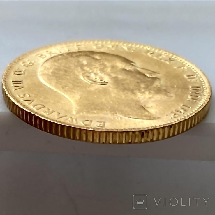 1 фунт (соверен). 1906. Эдуард VII. Великобритания (золото 917, вес 8,00 г), фото №13