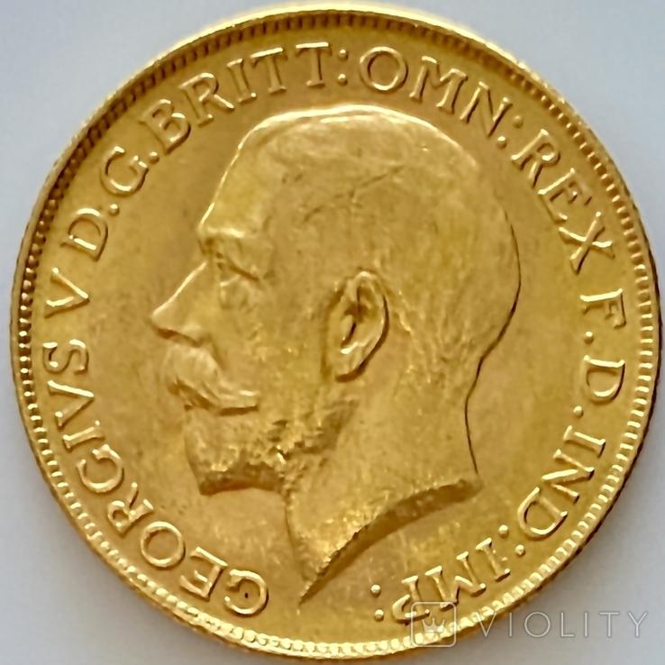 1 фунт (соверен). 1928. Георг V. Великобритания (проба 917, вес 8,00 г), фото №2