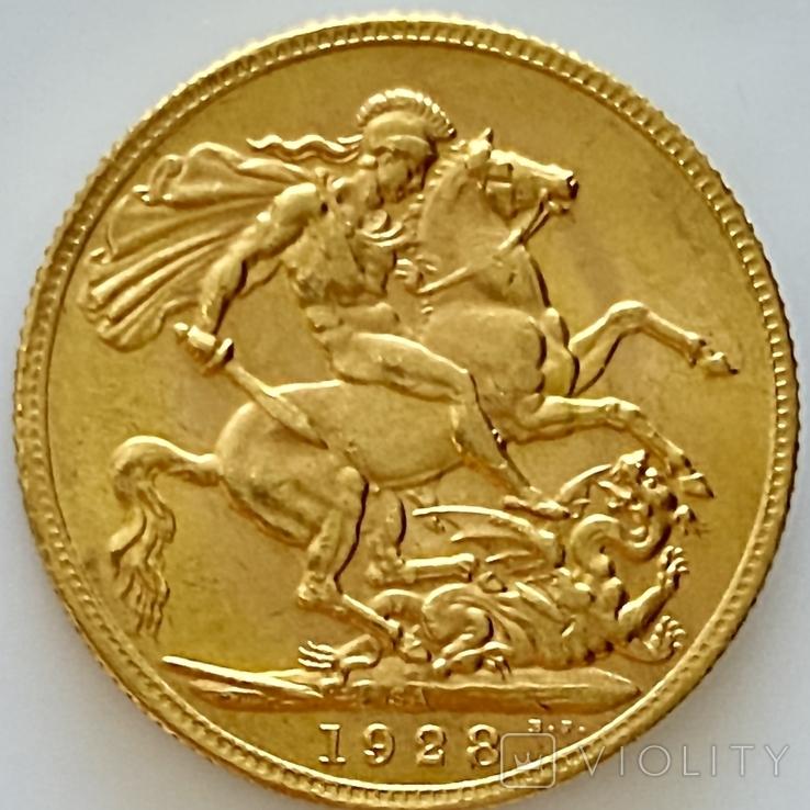 1 фунт (соверен). 1928. Георг V. Великобритания (проба 917, вес 8,00 г), фото №5