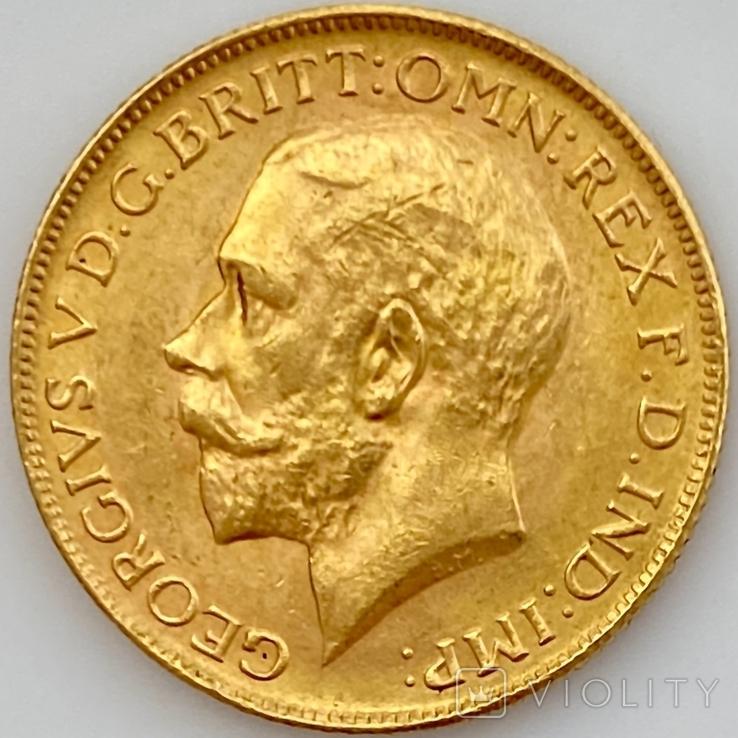 1 фунт (соверен). 1928. Георг V. Великобритания (проба 917, вес 8,00 г), фото №6