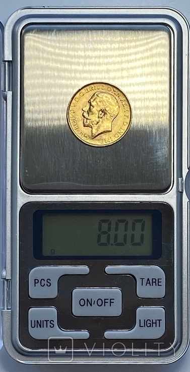 1 фунт (соверен). 1928. Георг V. Великобритания (проба 917, вес 8,00 г), фото №8