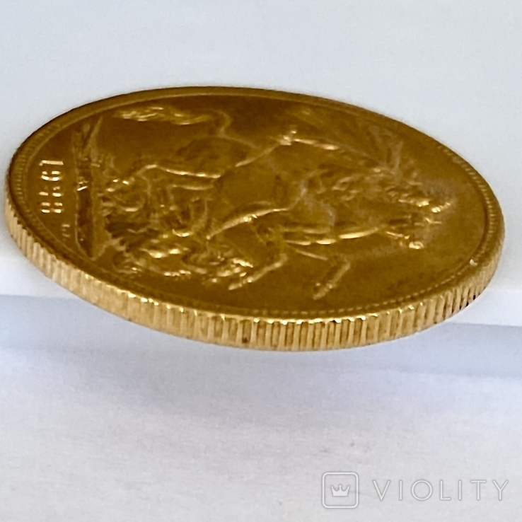 1 фунт (соверен). 1928. Георг V. Великобритания (проба 917, вес 8,00 г), фото №10