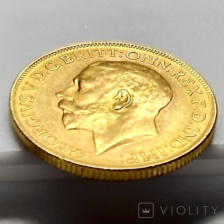 1 фунт (соверен). 1928. Георг V. Великобритания (проба 917, вес 8,00 г), фото №11
