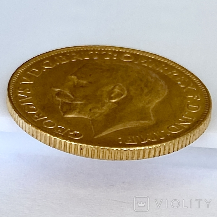 1 фунт (соверен). 1928. Георг V. Великобритания (проба 917, вес 8,00 г), фото №13