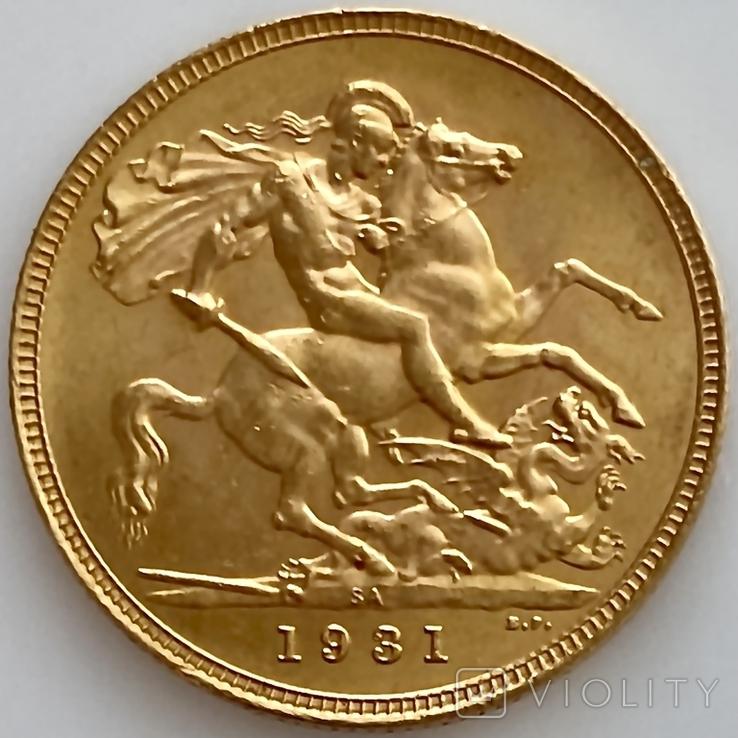 1 фунт (соверен). 1931. Георг V. Великобритания (проба 917, вес 8,00 г), фото №3