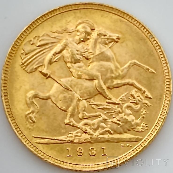 1 фунт (соверен). 1931. Георг V. Великобритания (проба 917, вес 8,00 г), фото №5
