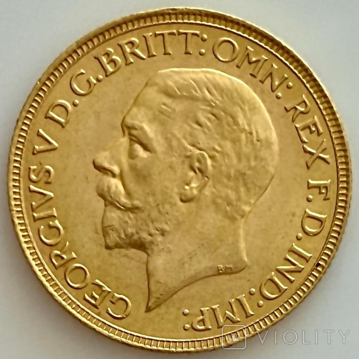 1 фунт (соверен). 1931. Георг V. Великобритания (проба 917, вес 8,00 г), фото №6