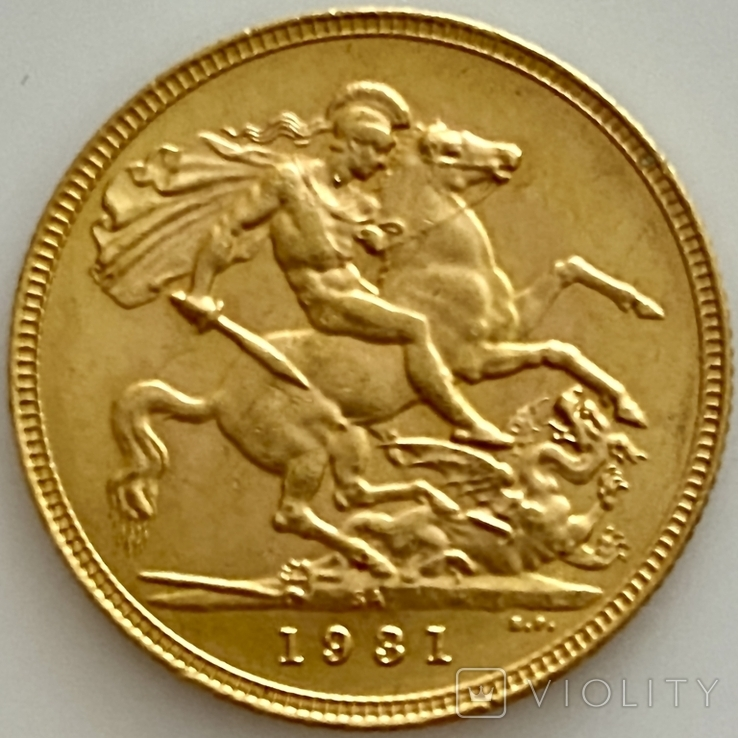 1 фунт (соверен). 1931. Георг V. Великобритания (проба 917, вес 8,00 г), фото №7