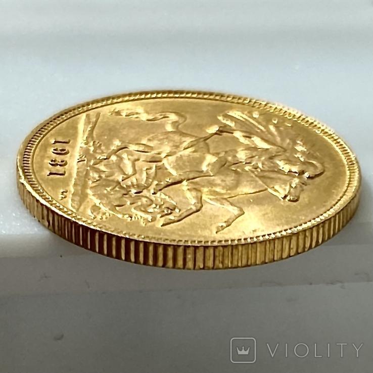 1 фунт (соверен). 1931. Георг V. Великобритания (проба 917, вес 8,00 г), фото №11