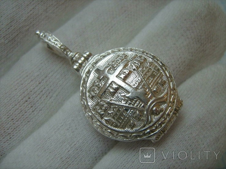 Серебряный Кулон Подвеска с Секретом Локет Открывающийся Тайник Богородица 925 проба 297, фото №3