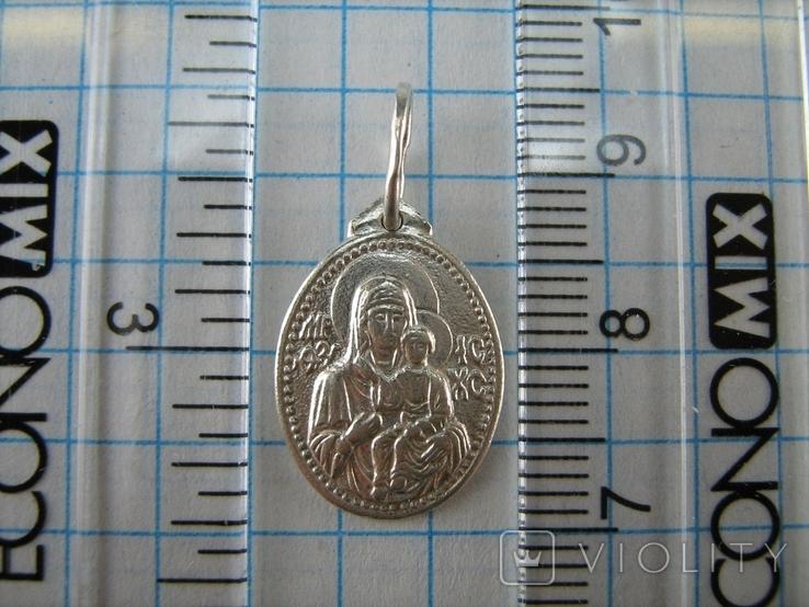Серебряный Кулон Подвеска Образок Ладанка Богородица Иисус Христос Серебро 925 проба 681, фото №4