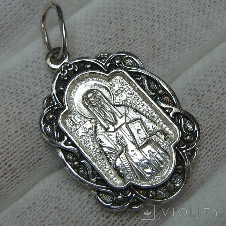 Новый Серебряный Кулон Ладанка Святой Алексей Алезий Серебро 925 проба 683, фото №2