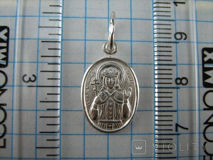 Серебряный Кулон Подвеска Образок Ладанка Святая Ирина Серебро 925 проба 677, фото №4