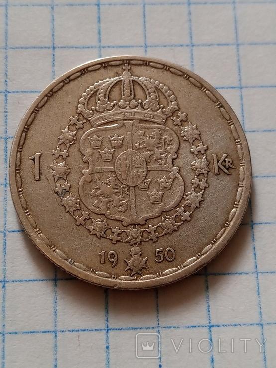 1 крона 1950 Швеція срібло, фото №2